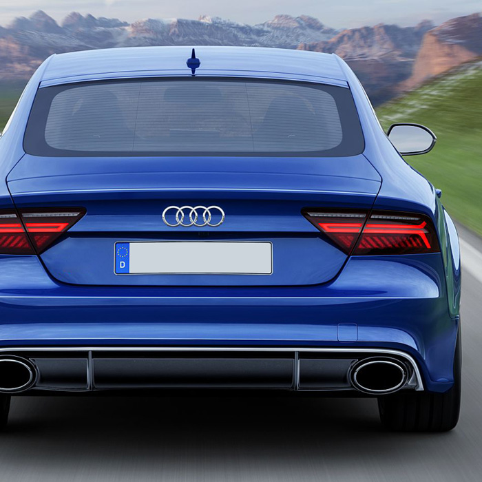 rs7 style rear diffuser spoiler lip lid with exhaust tips. Black Bedroom Furniture Sets. Home Design Ideas