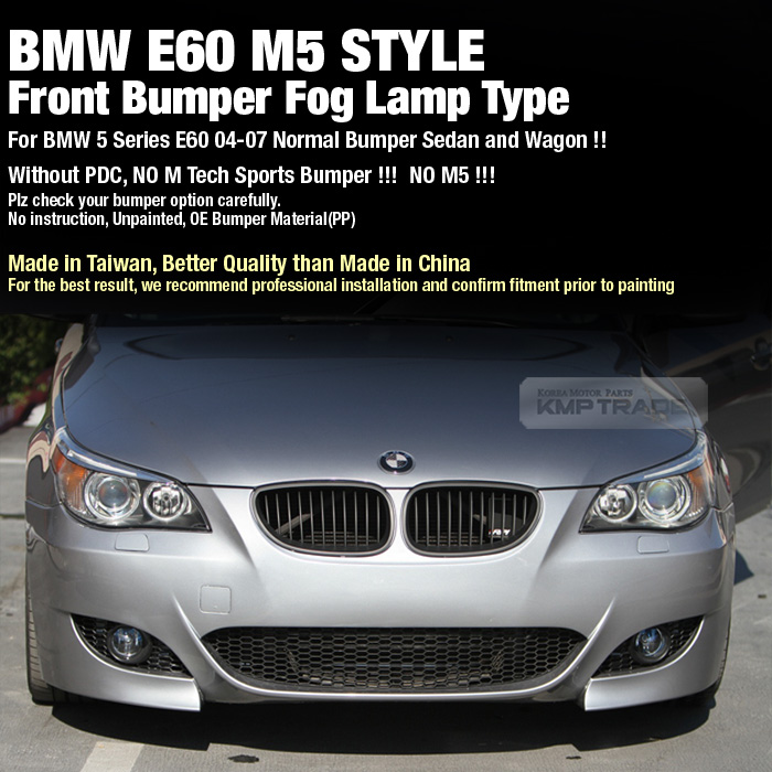 M5 Style Front Bumper Fog Lamp Type Without PDC For BMW