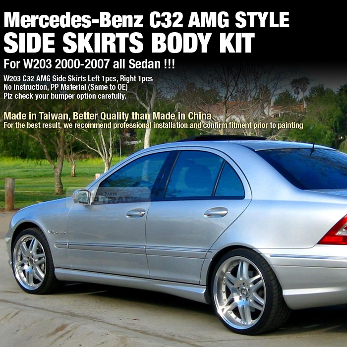 C32 amg style side skirts skid body kit for mercedes benz for Mercedes benz c300 turbo kit