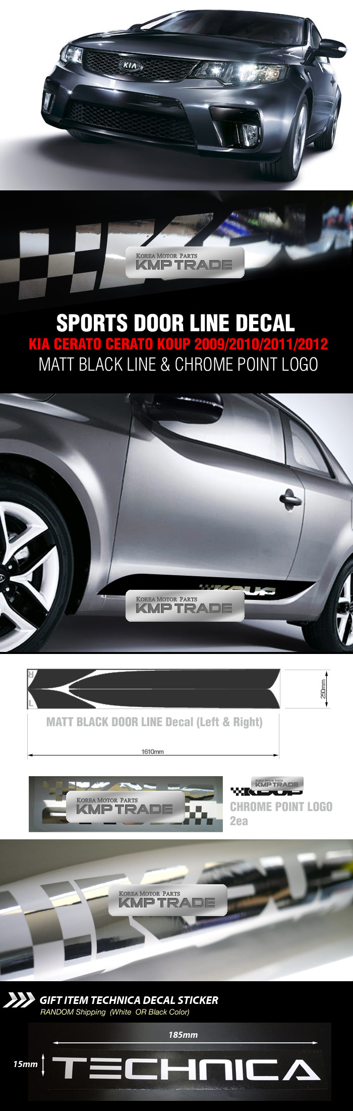 SPORTS DOOR LINE Decal Stickers Black&Chrome For KIA ...