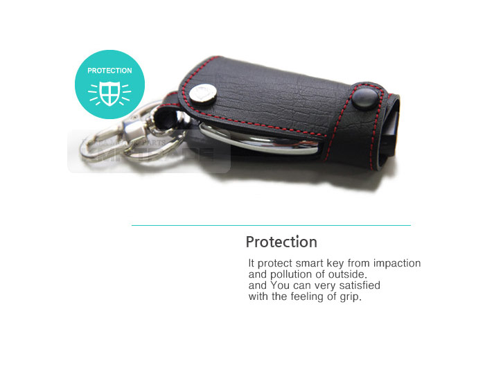 Mobis smart key holder leather cover case ring pouch bag for Mercedes benz key pouch