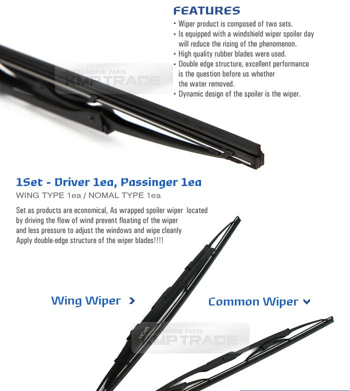 Used 2017 Kia Optima Turbo: OEM Wing Windshield Wiper Blades 24inch 18inch For HYUNDAI