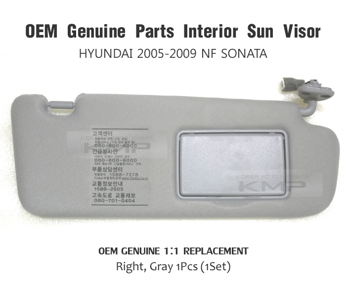 Parts interior sun visor right gray for hyundai 2005 2009 nf sonata