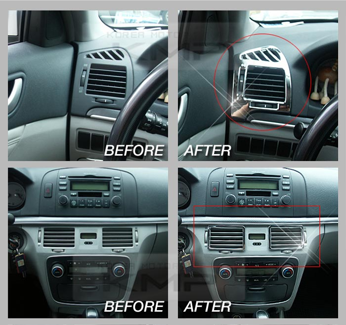 chrome interior duct garnish molding trim b655 fit hyundai 2006 2008 sonata nf. Black Bedroom Furniture Sets. Home Design Ideas