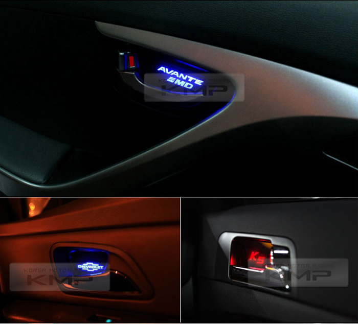 Promotion Blue Led Inner Door Catch Handle Plate 4p For Hyundai 2007 13 Veracruz