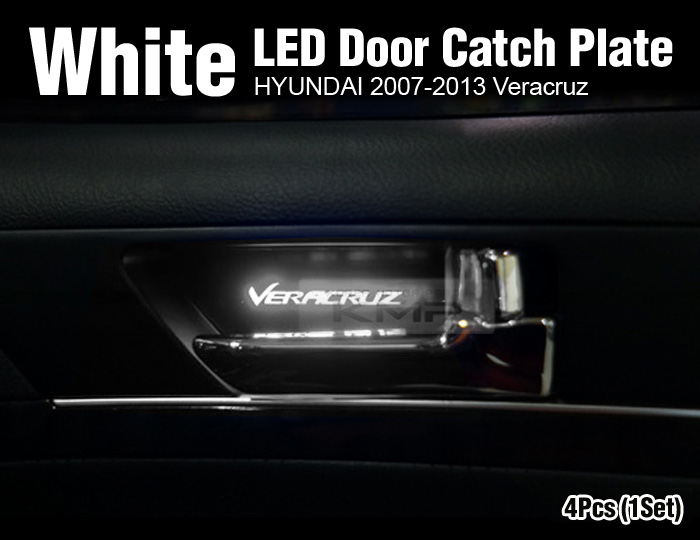 Promotion White Led Inner Door Catch Handle Plate 4p For Hyundai 07 13 Veracruz Ebay