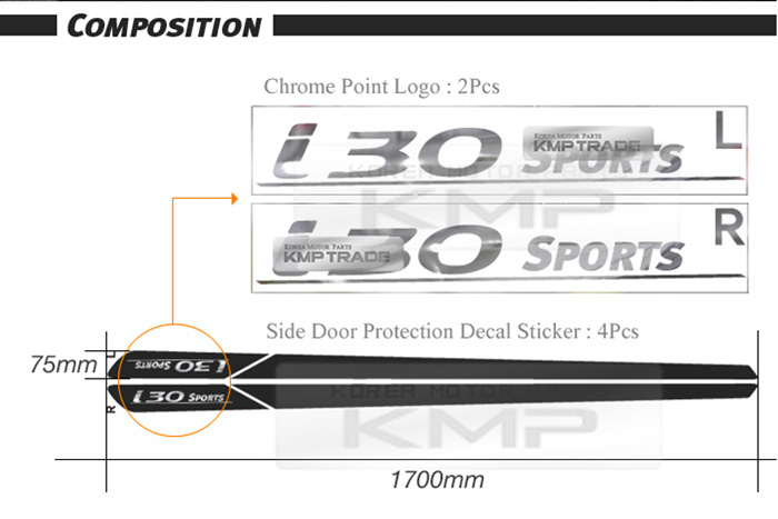 Door line decal sticker fit hyundai 2008 2012 i30 5door hatchback