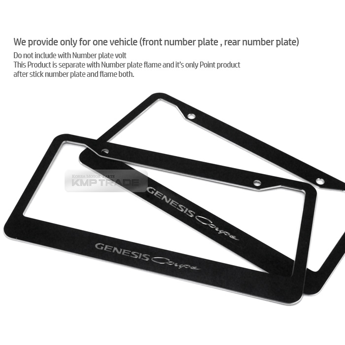License Plate Stainless Metal Black Cover Frame 2P For