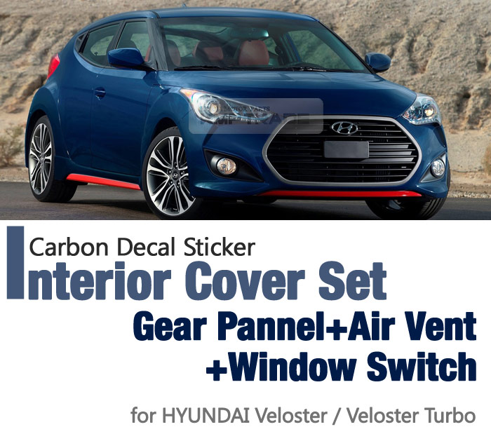 2017 Hyundai Veloster Interior: Carbon Gear Air Vent Window Switch Decal Sticker For