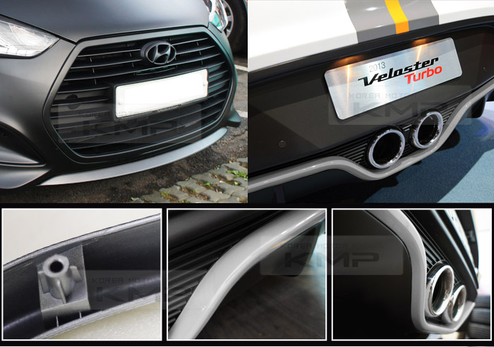 Front rear bumper lip silver for hyundai 2012 2015 veloster turbo