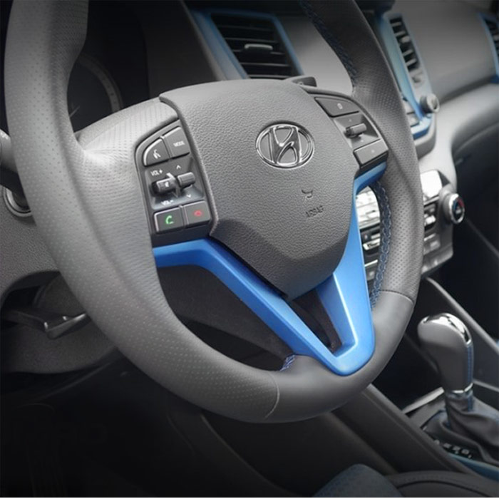 2017 Hyundai Veloster Interior: OEM Interior Steering Wheel Ornament Cover Ara Blue For