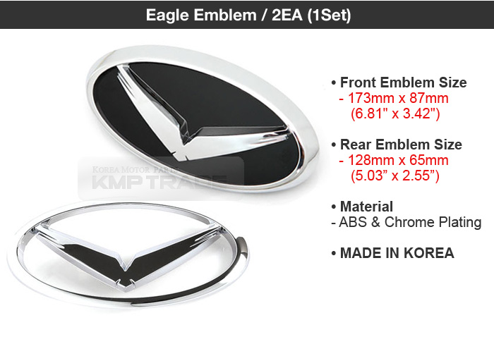 Trunk Badge 2EA for HYUNDAI 2006-2012 Santa Fe CM Eagle Emblem Grille