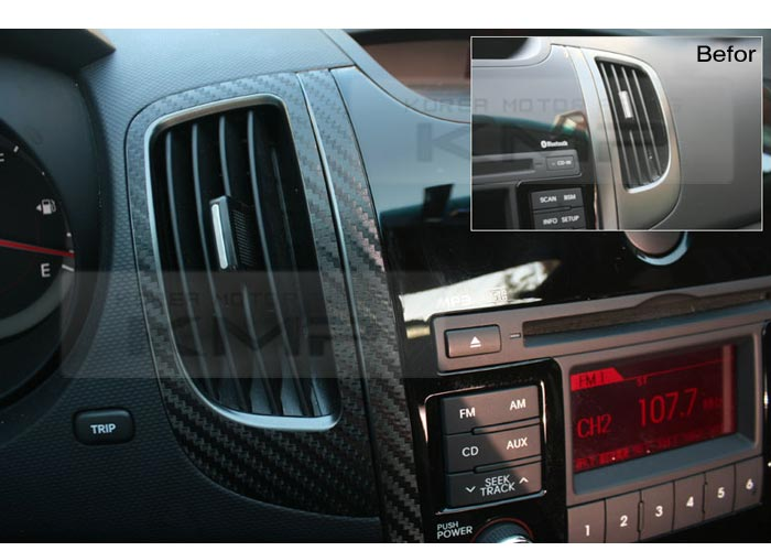Interior air vents carbon decals sticker black 2p for kia 2010 2013 cerato koup ebay for 2010 kia forte koup interior