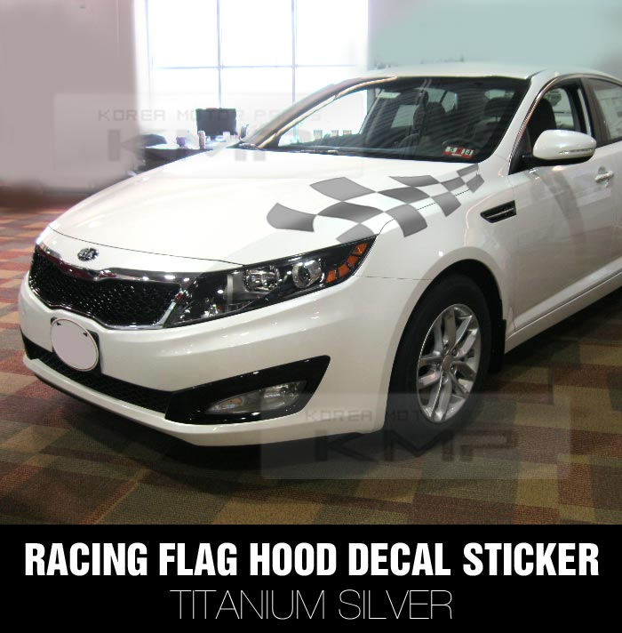 racing flag hood decal sticker silver for kia 2011 2015. Black Bedroom Furniture Sets. Home Design Ideas