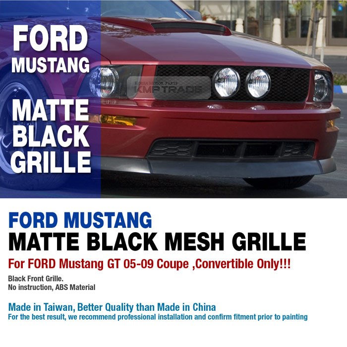 Front Black Mesh Hood Grille 1ea For FORD Mustang GT 2005-2009 Coupe Convertible