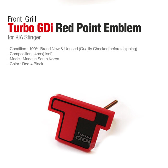 Front Grill Turbo GDi Red Point Emblem Logo Badge for KIA ...